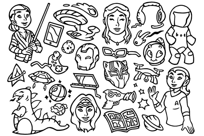 Thumbnail for 27 Nerd Culture - Scifi Movie Doodles Clipart