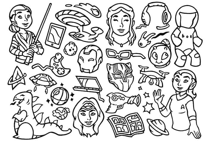 Cover Image For 27 Nerd Culture - Scifi Movie Doodles Clipart
