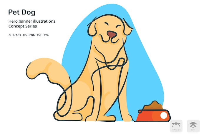 Thumbnail for Dog Pet Vector Illustration