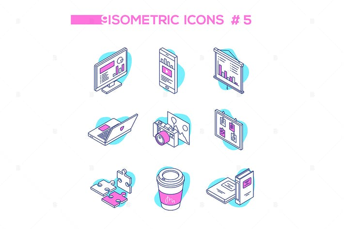 Thumbnail for Business analytics - line design isometric icons