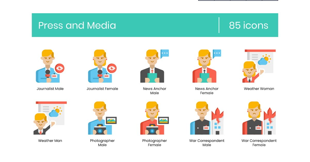 Download 85 Press and Media Icons - Pasteline Series by Krafted