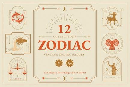 Ilustración de insignias zodiacales