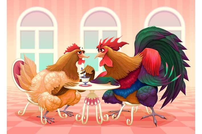 Thumbnail for Hen and Rooster in a Cafe