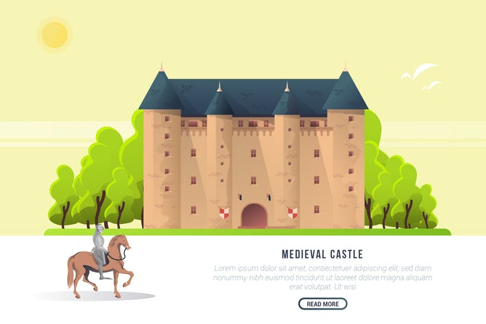 Thumbnail for Medieval Castle - Vector Landscape & Building