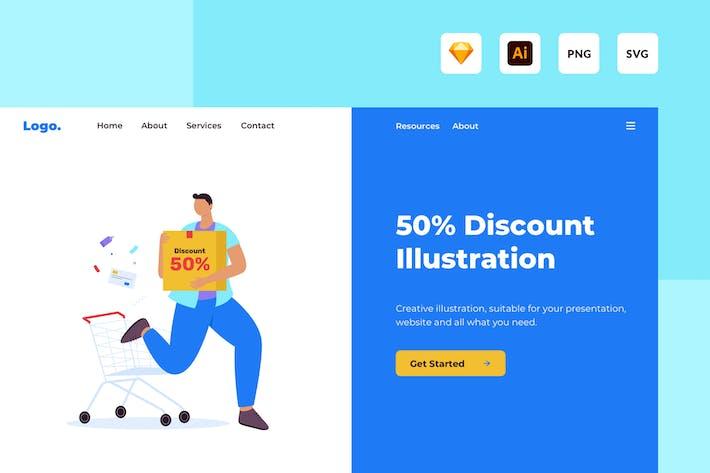 Thumbnail for Иллюстрация специальной скидки 50%