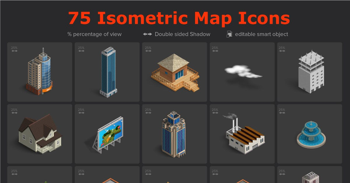 Isometric Map Icons by designhatti