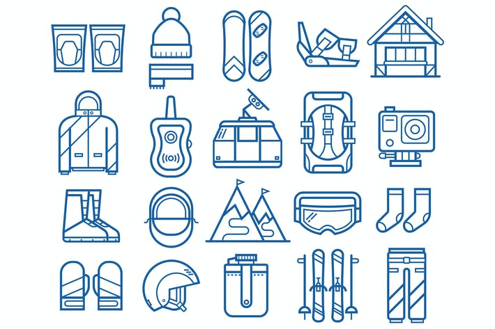 Thumbnail for Snowboarding and Skiing Line Icons
