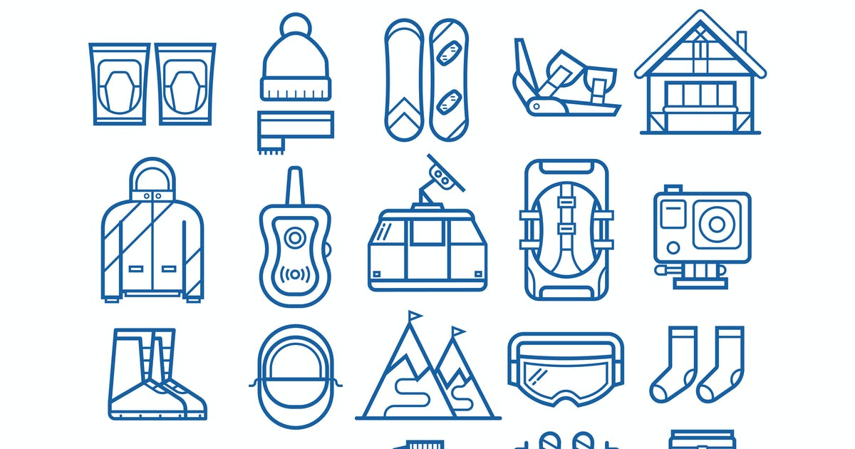 Download Snowboarding and Skiing Line Icons by krugli