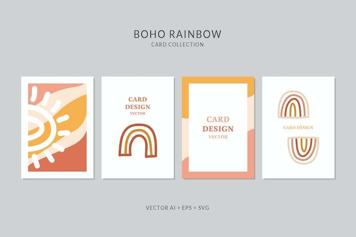 Thumbnail for Rainbow Card Vector Set