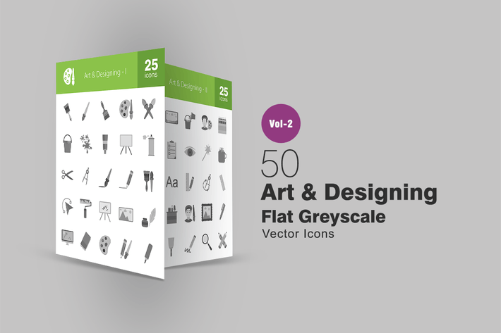 Thumbnail for 50 Art & Designing Greyscale Icons