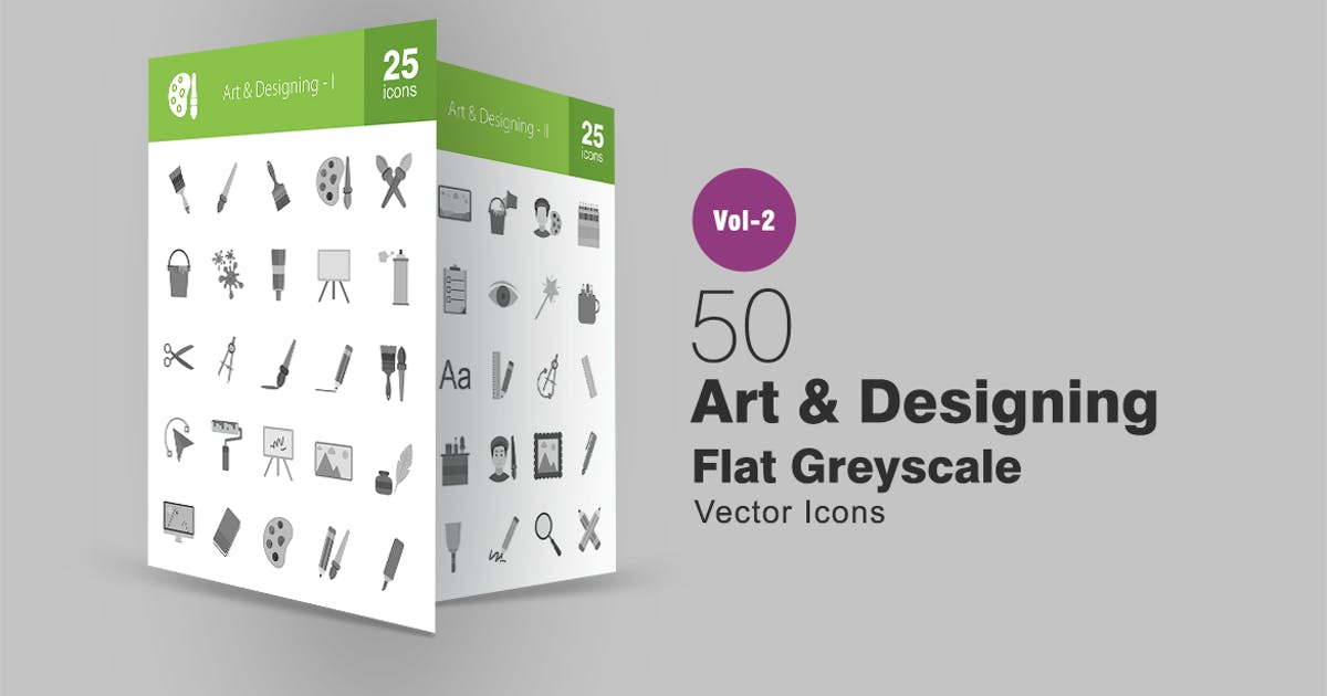 Download 50 Art & Designing Greyscale Icons by IconBunny