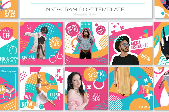 Thumbnail for Memphis Style Instagram Post Template