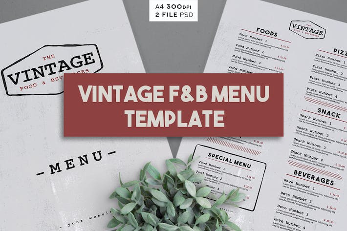Thumbnail for Vintage Menu Tempaltes
