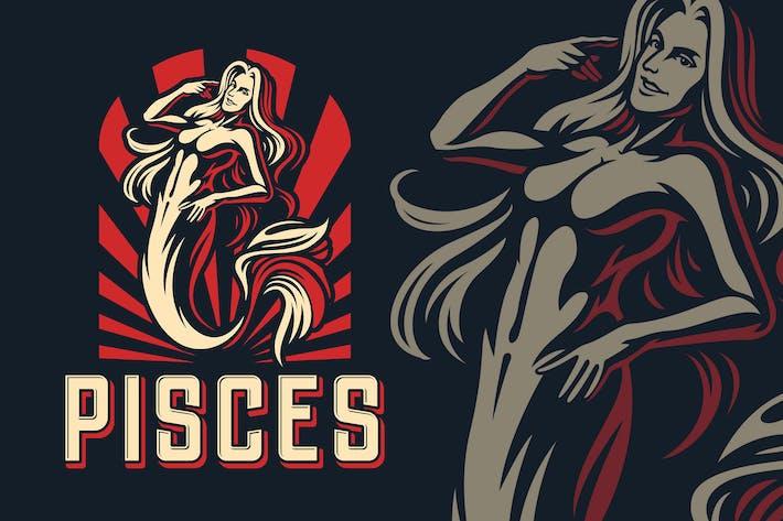 Thumbnail for Pisces Zodiac Sign Logo Template