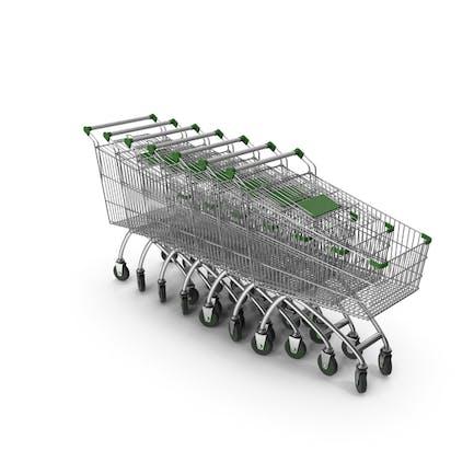 Linie Von Einkaufswagen mit grünem Kunststoff