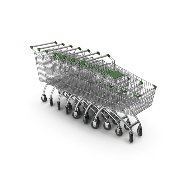 Line Of Shopping Carts With Green Plastic