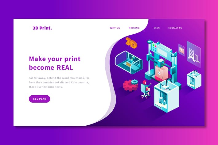 Thumbnail for 3D Printing - Landing Page Template