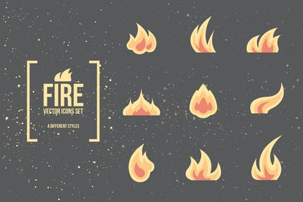Fire and Flames. Vector Icons.