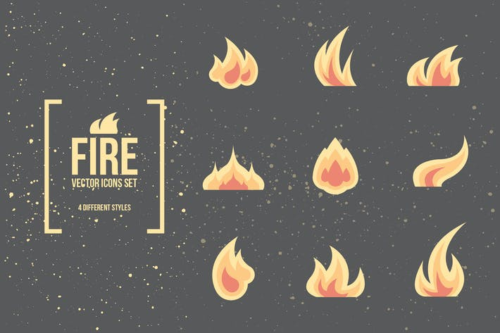 Cover Image For Fire and Flames. Vector Icons.
