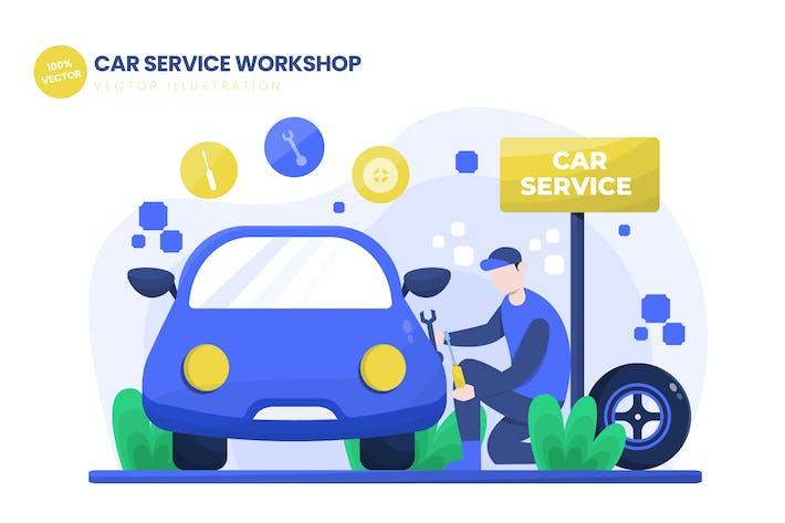 Car Service Workshop Flat Vector Illustration