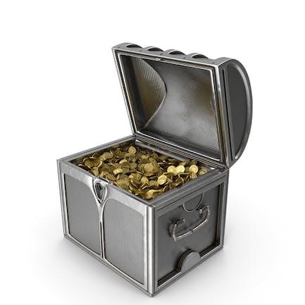 Pequeño cofre de plata con monedas de oro