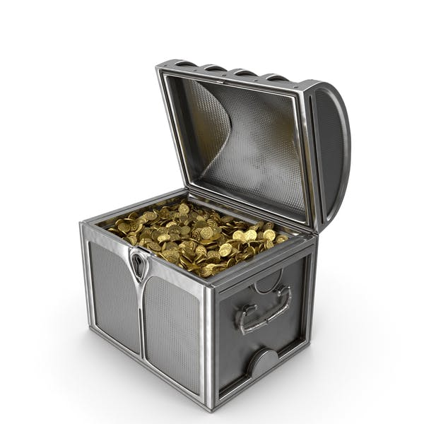 Small Silver Chest with Gold Coins