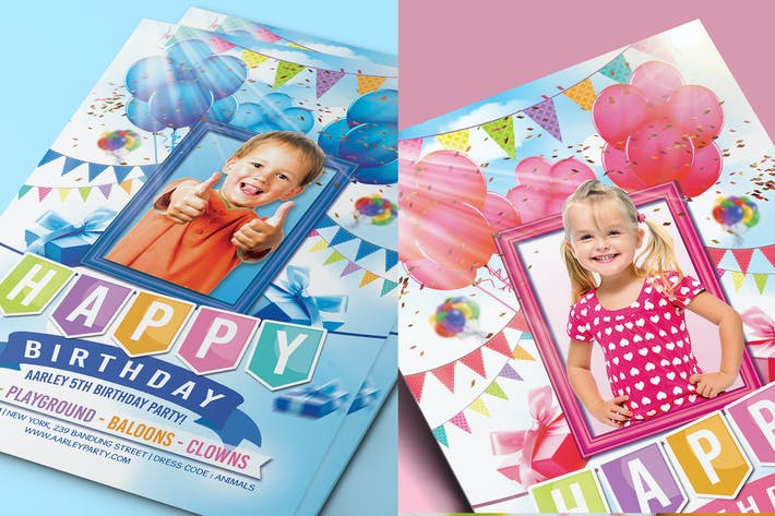 Kids Birthday Party Invitation ( Boy & Girl )