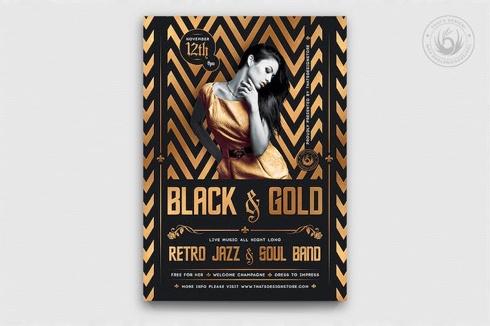 Thumbnail for Black and Gold Flyer Template V18