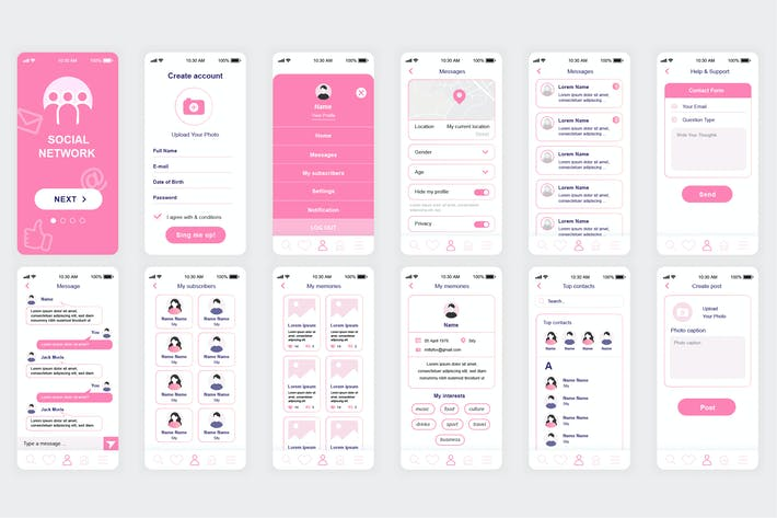 Thumbnail for Social Network Mobile App UI Kit