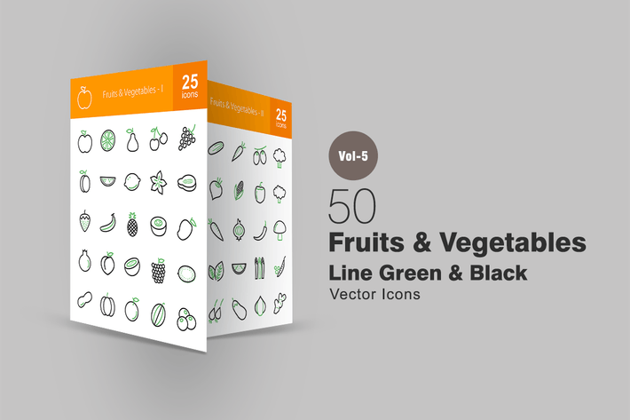 Thumbnail for 50 Fruits & Vegetables Line Green & Black Icons