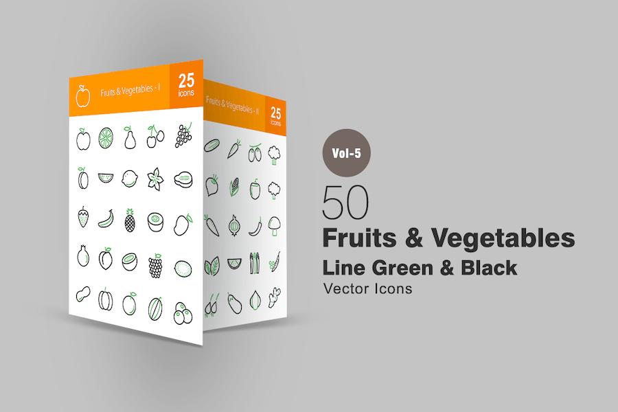 50 Fruits & Vegetables Line Green & Black Icons