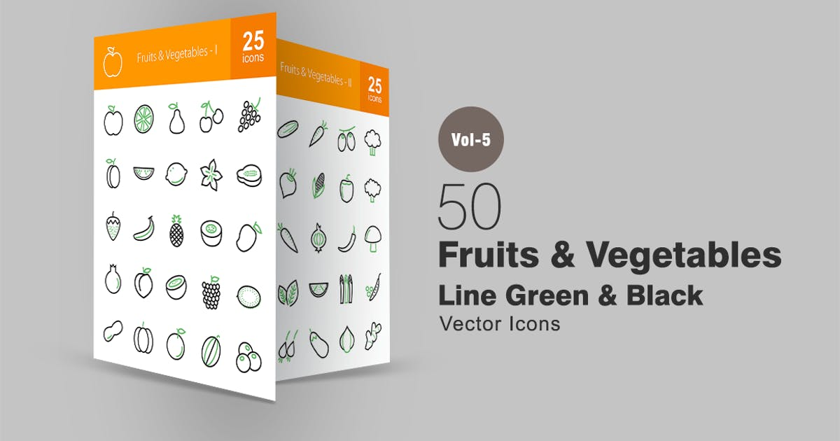 Download 50 Fruits & Vegetables Line Green & Black Icons by IconBunny