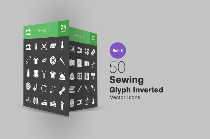 Thumbnail for 50 Sewing Glyph Inverted Icons