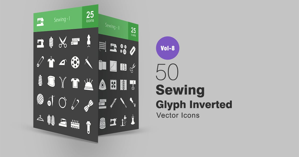 Download 50 Sewing Glyph Inverted Icons by IconBunny