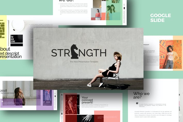 Thumbnail for Strenght White Google Slide
