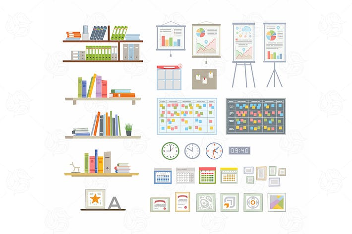 Thumbnail for Office Essentials - vector flat elements set