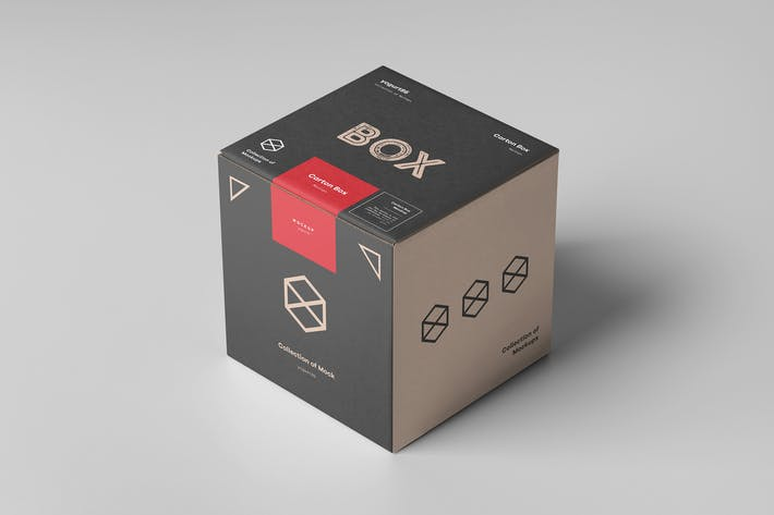 Cover Image For Carton Box Mockup 100x100x100