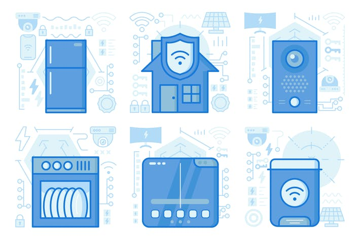 Thumbnail for Wireless Home Security UI UX Illustrations