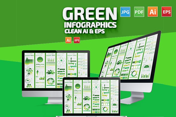 Thumbnail for Green Infographic Set Design
