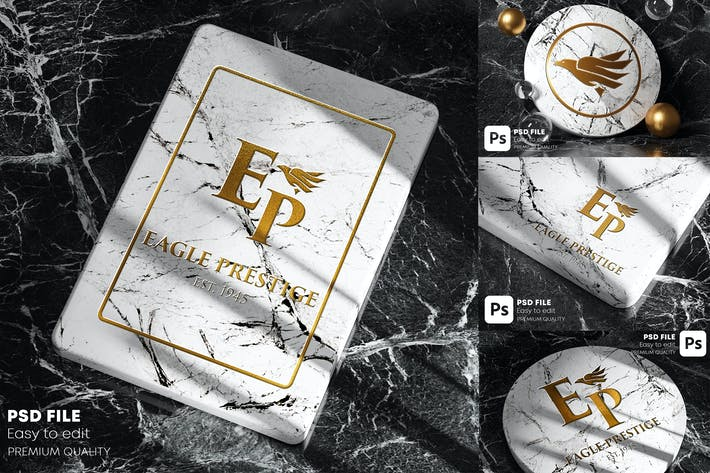 Thumbnail for Gold Marble Logo Mockup Pack
