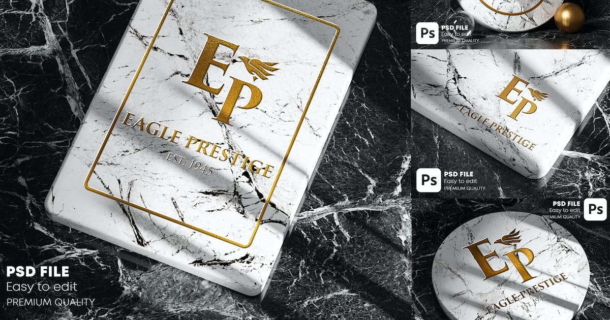 Download Gold Marble Logo Mockup Pack by Nmotion