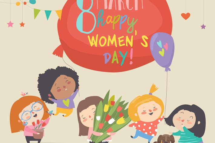 Thumbnail for Happy Womens Day March 8. Cute girls celebrating