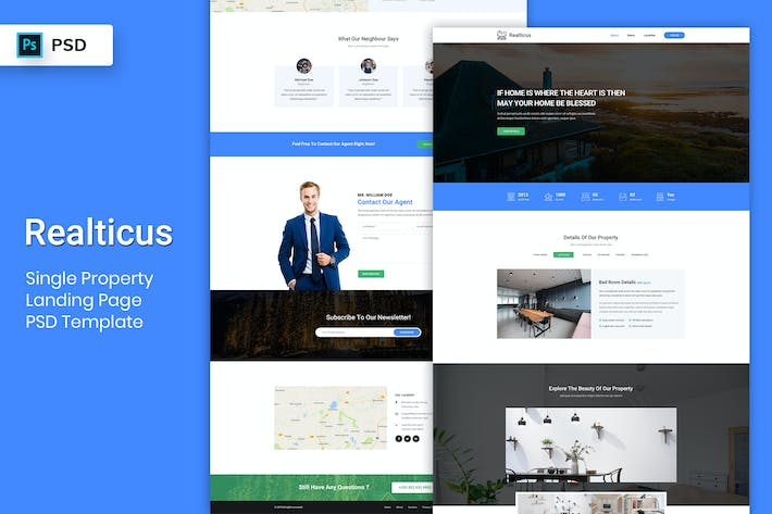 Thumbnail for Single Property - Landing Page PSD Template