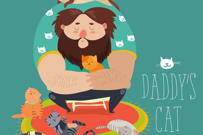 Thumbnail for Big man wih cute cats. Daddy s cat. Vector