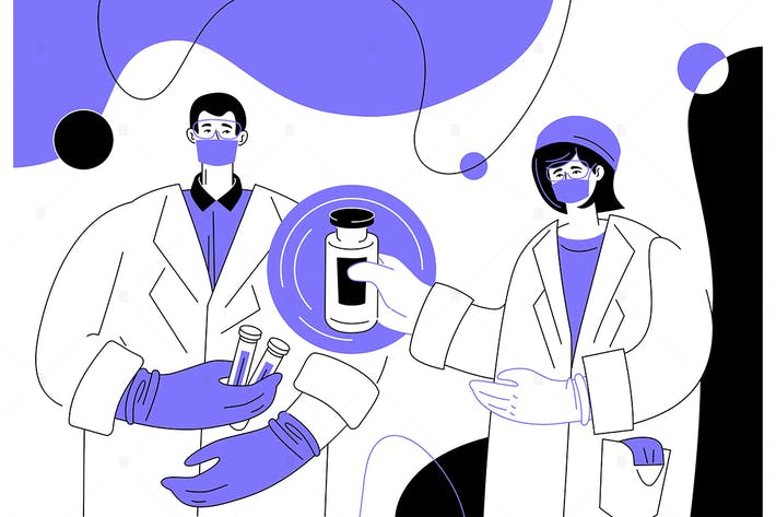 Thumbnail for Medical laboratory flat design style illustration