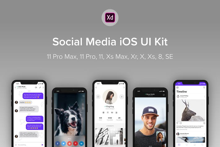 Thumbnail for Social Media iOS UI Kit (Adobe XD)