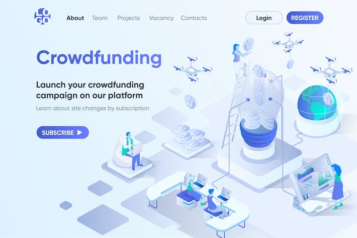 Crowdfunding Isometric Concept Landing Page