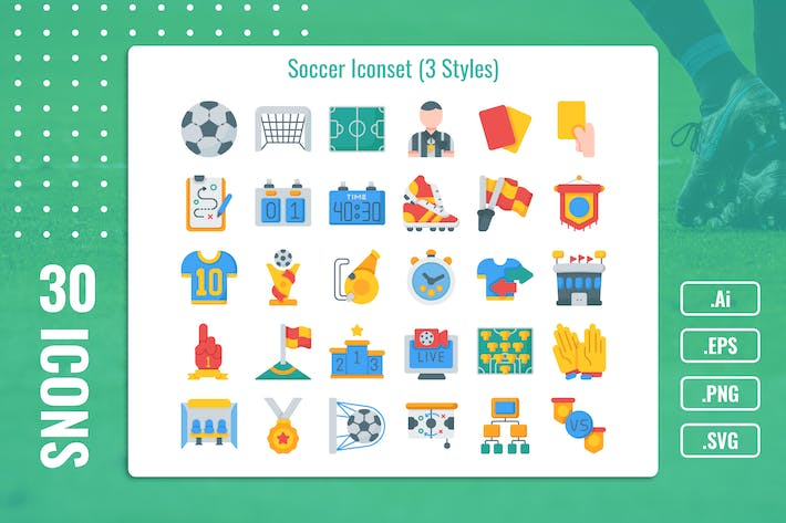 Thumbnail for 30 Solid Iconset Soccer With 3 Styles Variant