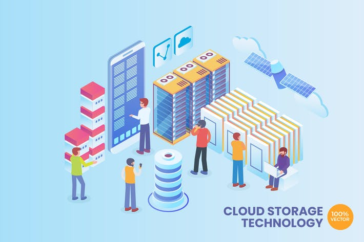 Thumbnail for Isometric Cloud Storage Technology Vector Concept