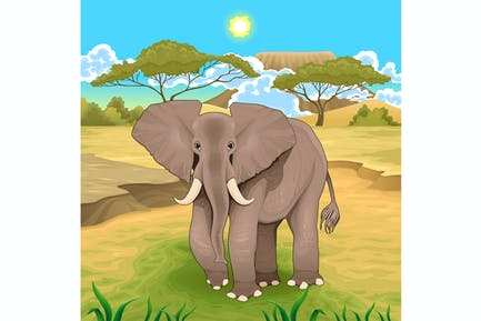 African Landscape with Elephant